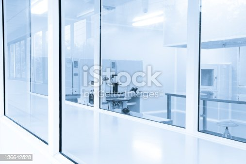 Pharmaceutical Factory Laboratory equipment in clean room,real place