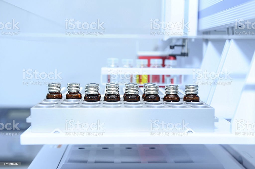 Laboratory samples ready for analysis stock photo