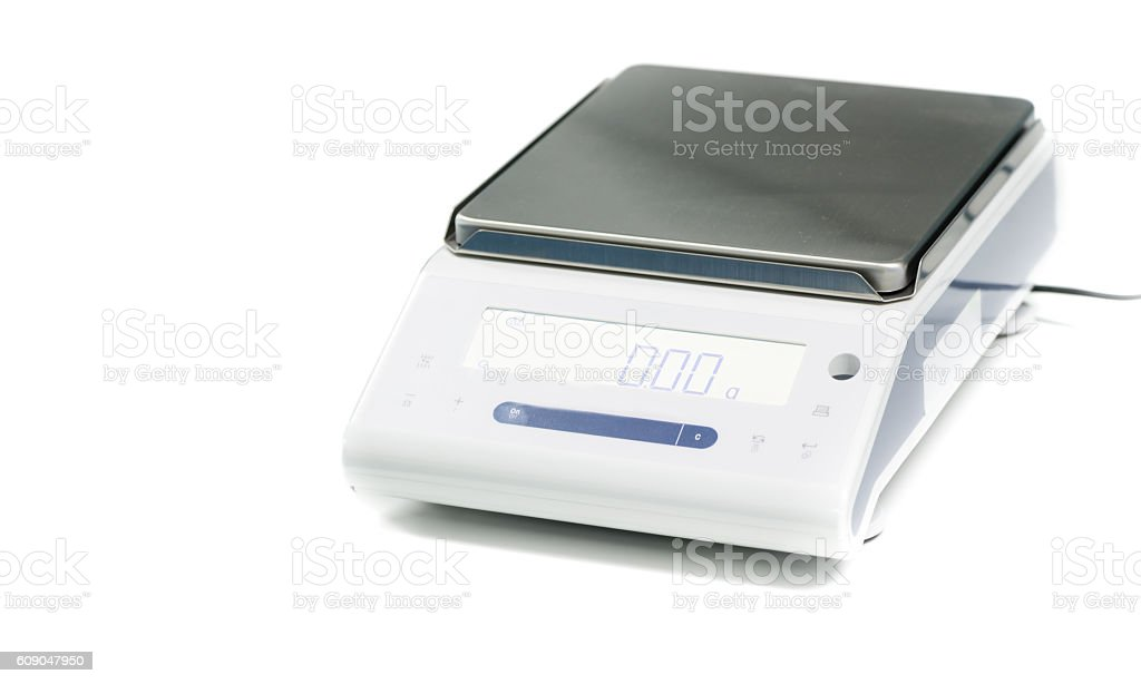 laboratory scale on a white background - foto de stock