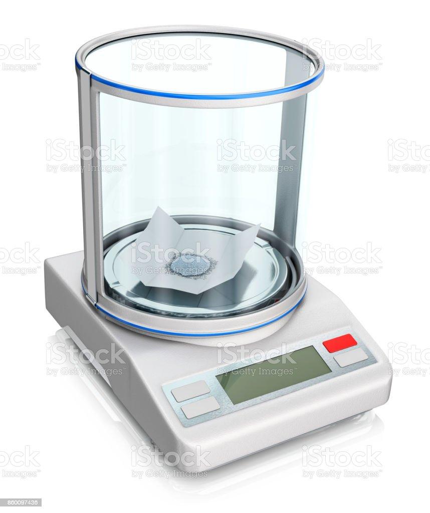 Laboratorio Balanzas miden el peso del polvo en papel - foto de stock