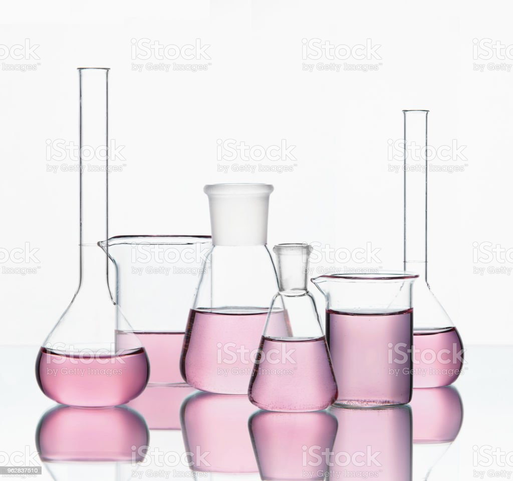 Laboratory Supplies Glassware With Colorful Chemical Liquid