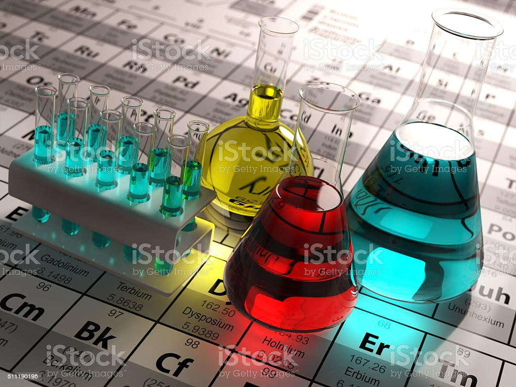 Laboratory test tubes and flasks with colored liquids Laboratory test tubes and flasks with colored liquids on the periodic table of elements. Science chemistry concept.  3d Analyzing Stock Photo