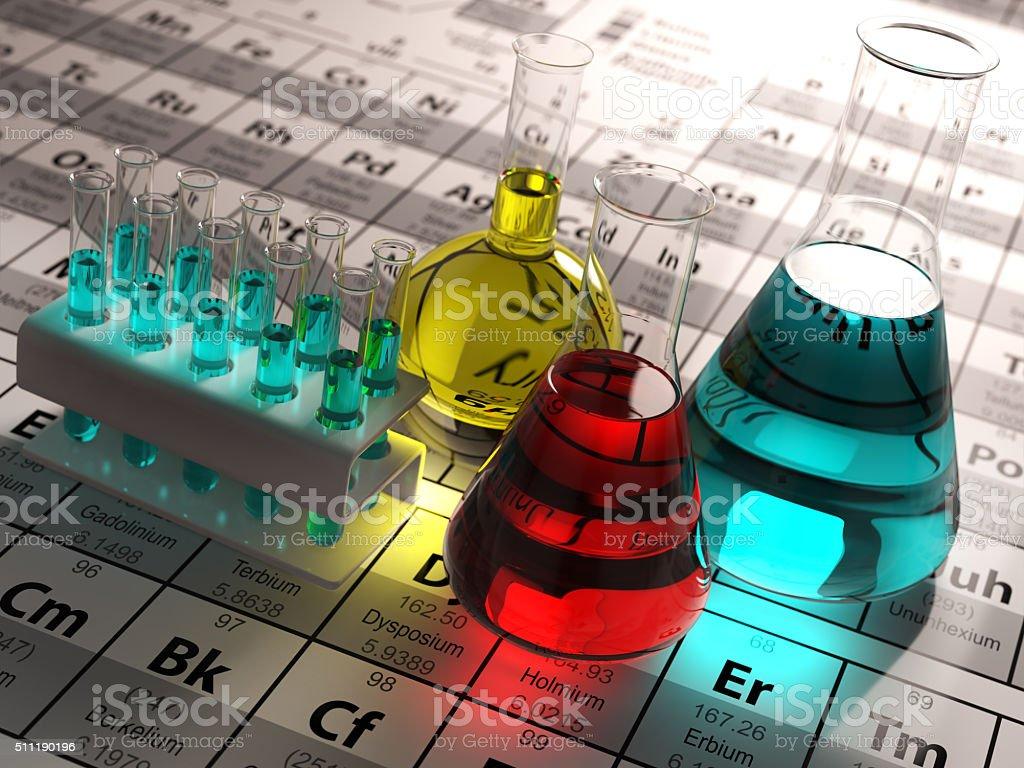 Tubos de testes de laboratório e garrafas térmicas com líquidos cores - foto de acervo