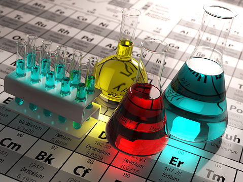 Laboratory Test Tubes And Flasks With Colored Liquids Stock Photo - Download Image Now