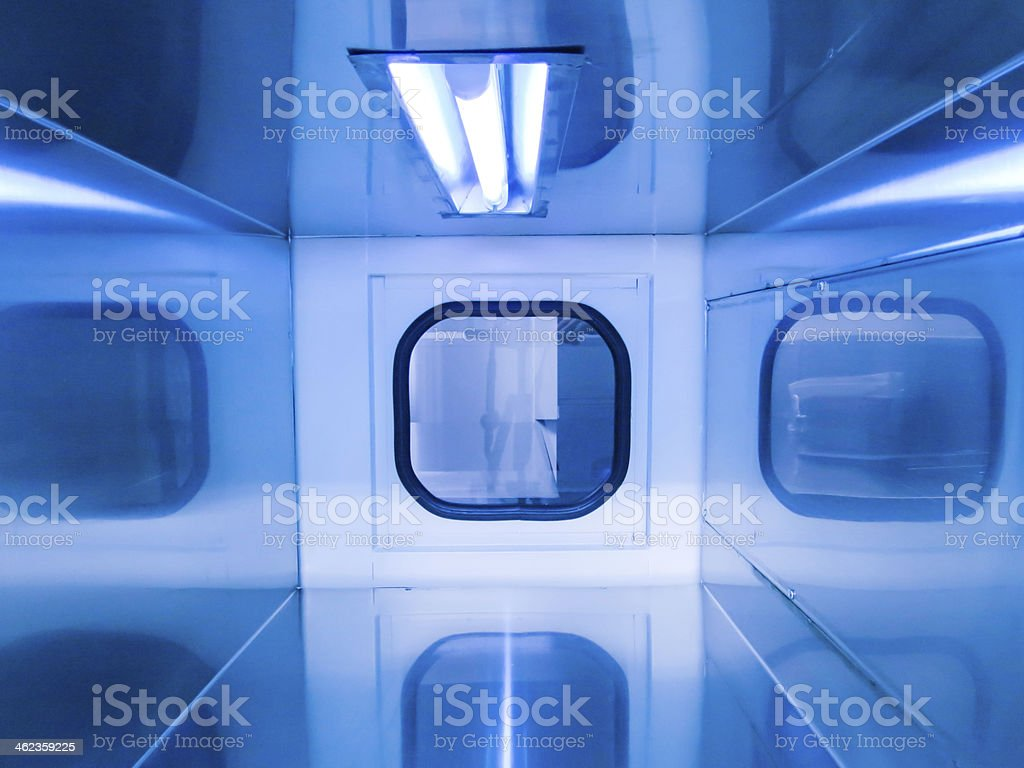 Laboratory UV disinfection stock photo