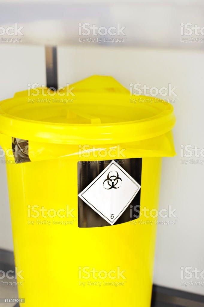 laboratory waste bin for hazardous materials stock photo