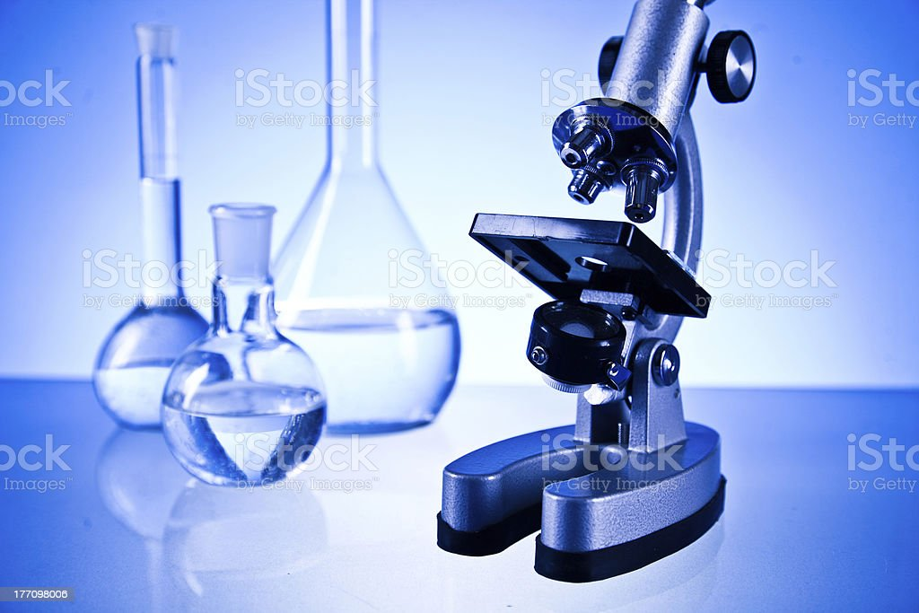 laboratory with microscope and glassware royalty-free stock photo