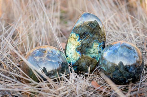 3 Labradorit Steinen im Gras – Foto