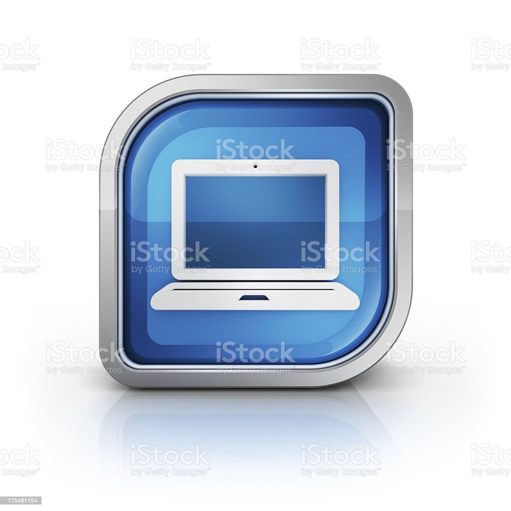 labtop computer 3d glossy icon royalty-free stock photo