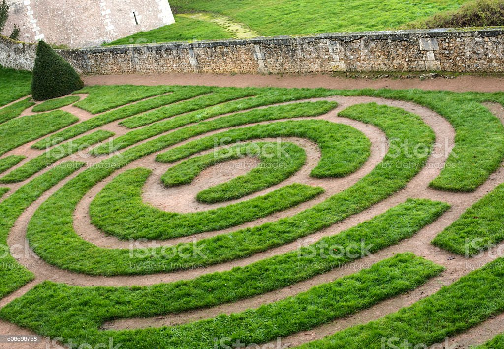 Labyrinth at Bishop's Garden in Chartres, France stock photo