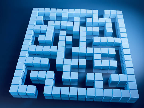 Labyrinth Blue Cubes 3D Render of a labyrinth with pixelated blue cubes. Very high resolution available! Use it for Your own composings!Related images: blue 3d business NOT map NOT background stock pictures, royalty-free photos & images