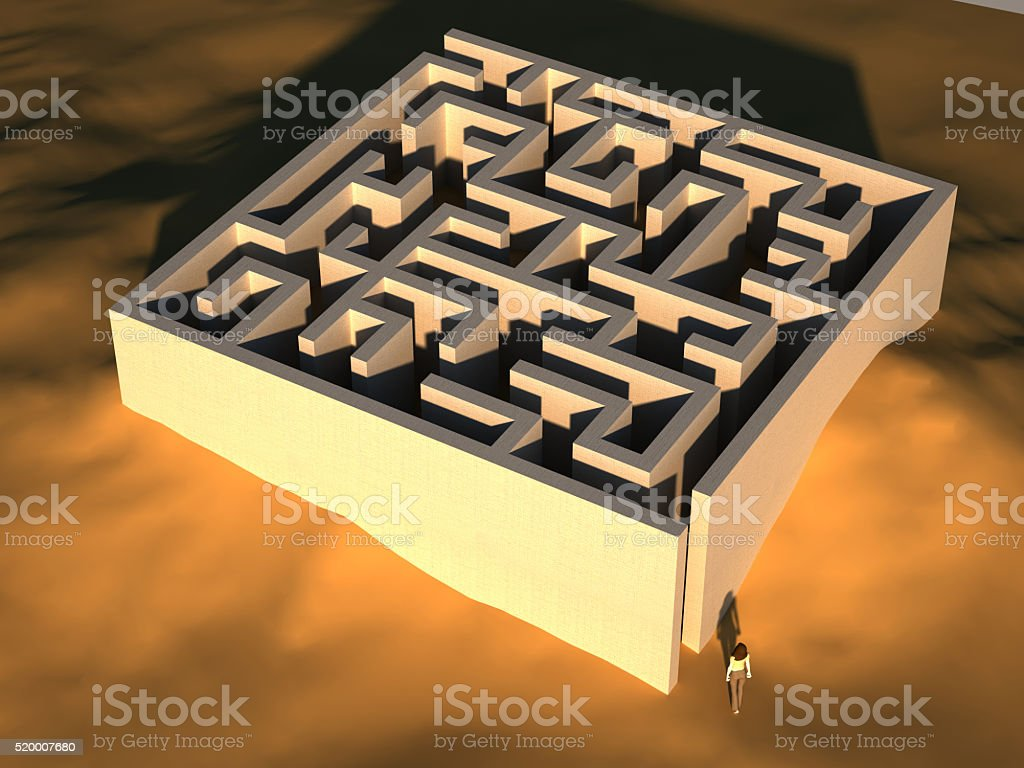 Labyrinth in the desert stock photo