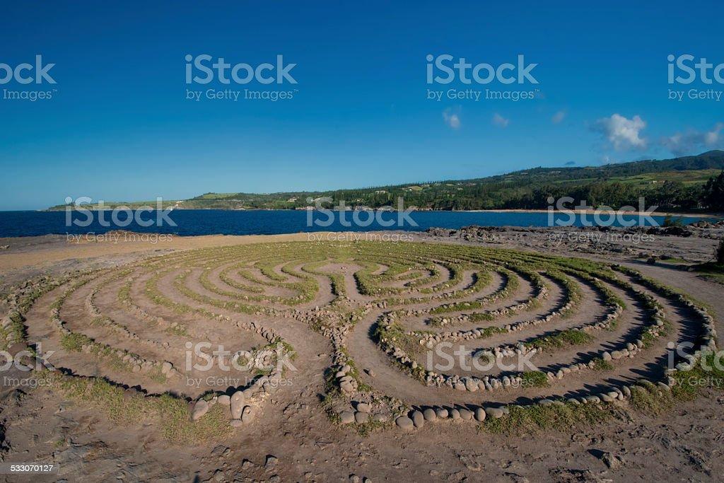 Labyrinth near Dragon's Teeth, Maui, Hawaii stock photo
