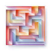 Labyrinth of colored paper on white background.