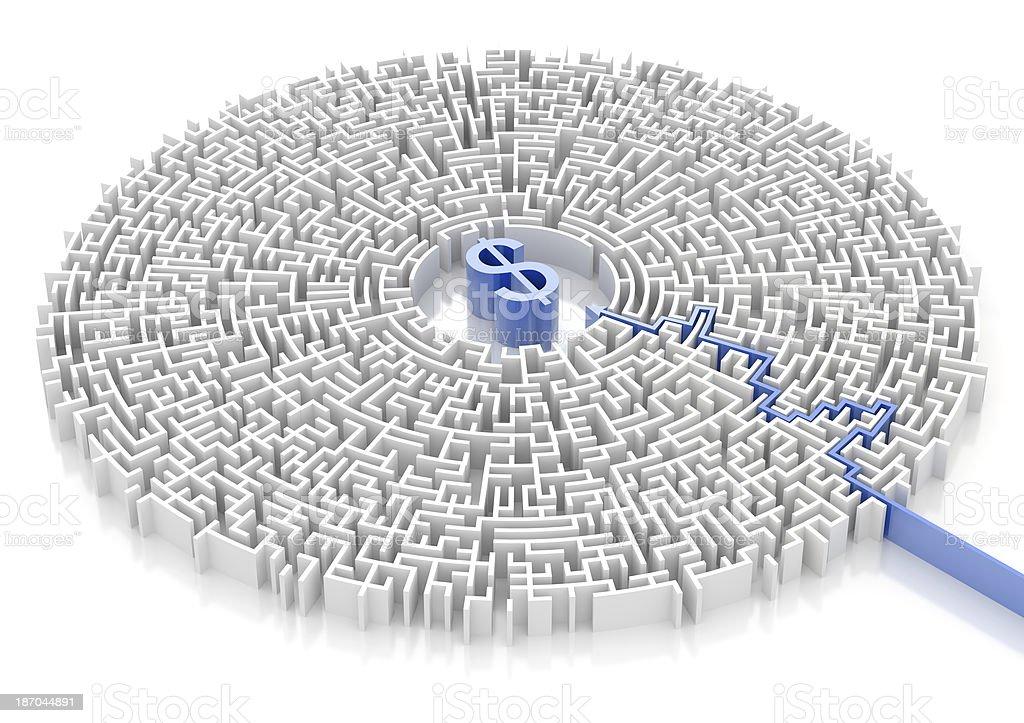 Labyrinth with DOLLAR symbol royalty-free stock photo