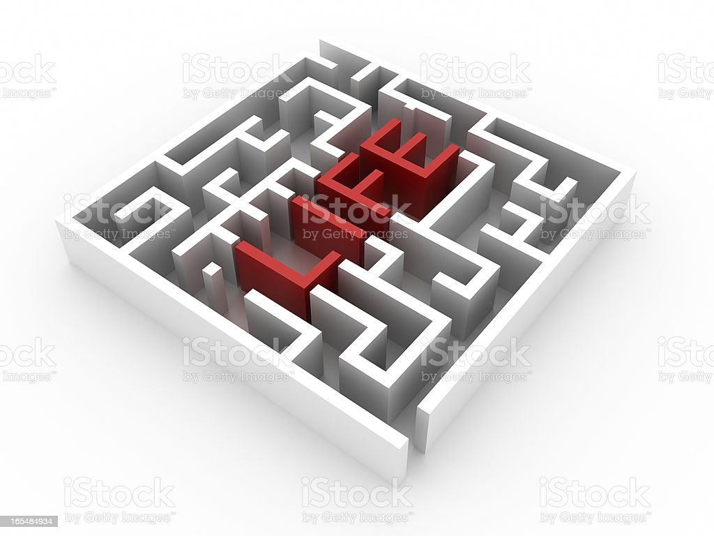 Labyrinth with LIFE text (isolated on white) royalty-free stock photo
