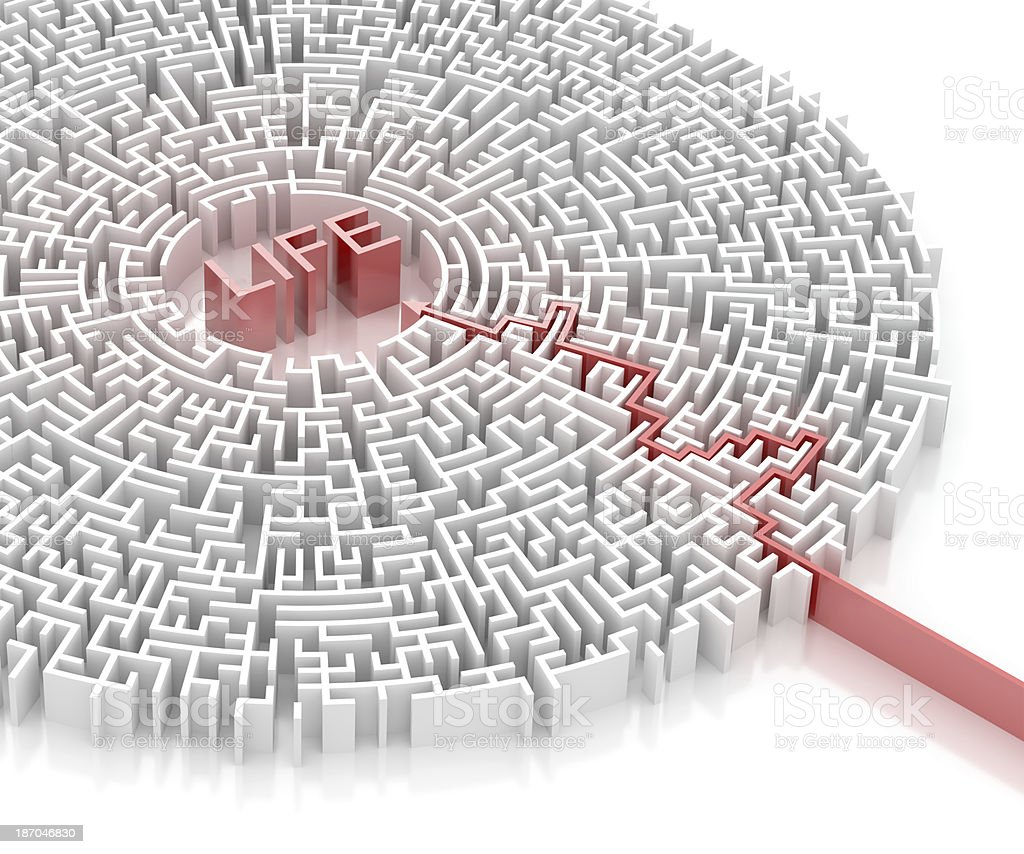 Labyrinth with LIFE word royalty-free stock photo