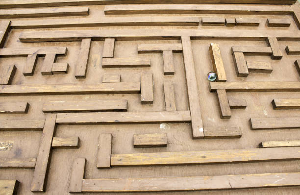 Labyrinth with marble stock photo