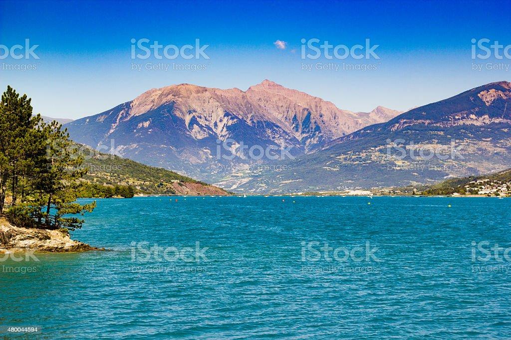 Lac de serre poncon stock photo