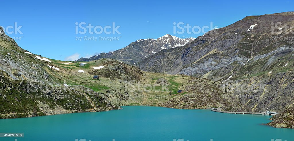 Lac des Gloriettes in the French Pyrenees stock photo