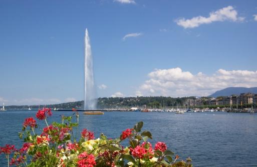 Lac Leman Geneva fountain