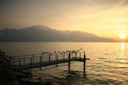 Lac Leman Sunset, Montreux Switzerland