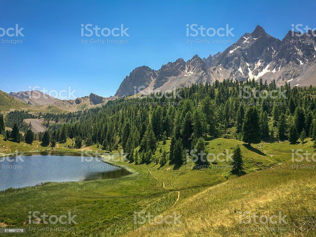 Lac miroir (Mirror lake), Queyras, the Alps, France stock photo
