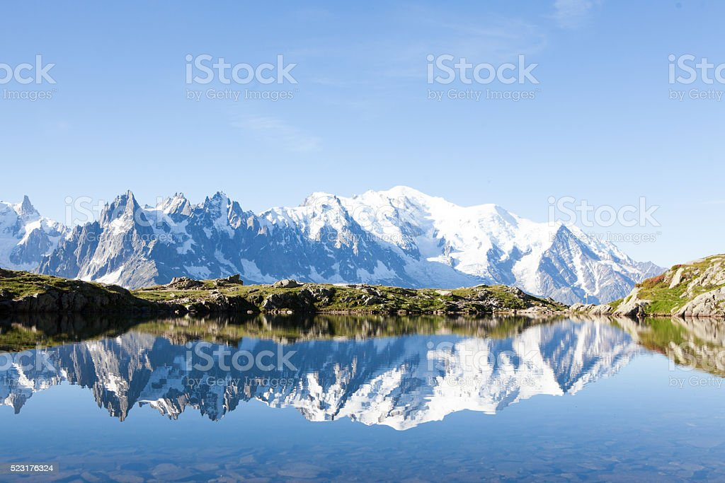 Lac Noir above Chamonix on a perfect summers day stock photo