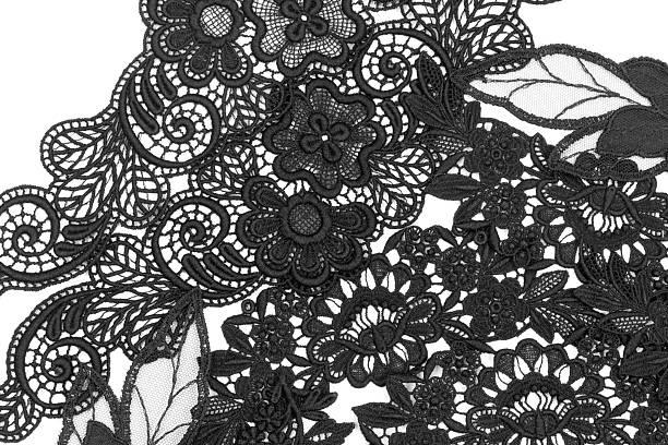 Lace background Macro studio shot of embroidered lace. Textile background.  lace textile stock pictures, royalty-free photos & images