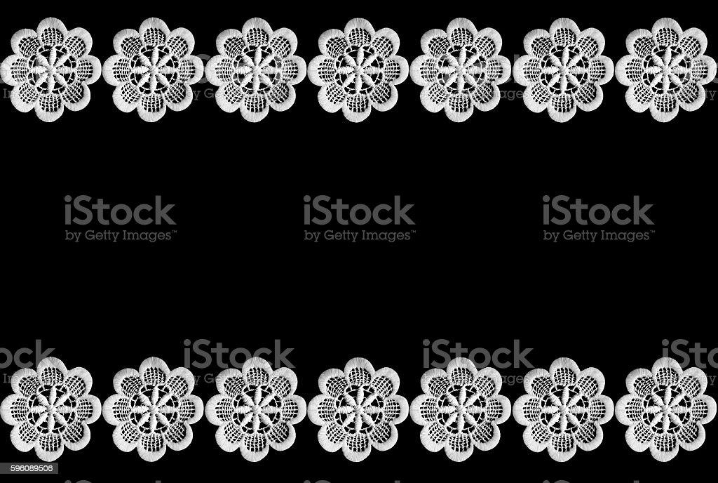 Lace border isolated on black background stock photo