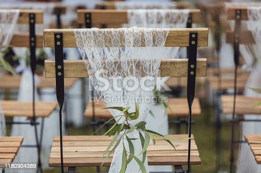 Lace Detail On Chairs At Wedding Ceremony At Outdoor Australian Wedding