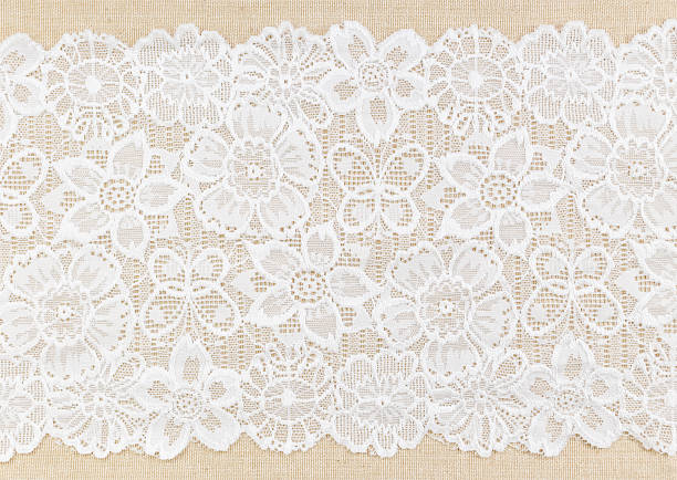 Lace White Ornamental Lace over fabric design for border or background lace textile stock pictures, royalty-free photos & images