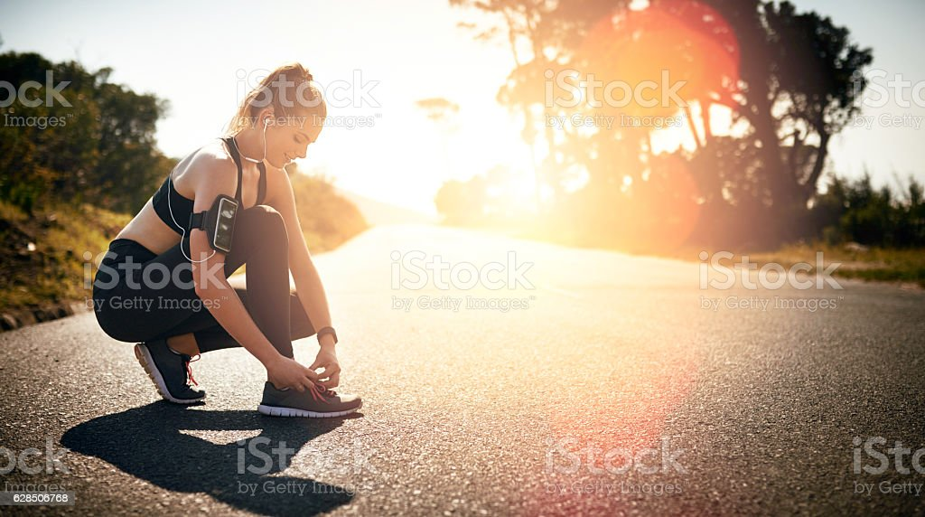 Lace up and get your head in the fitness game stock photo