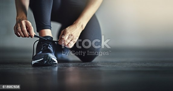 istock Lace up for the workout of your life 618982838