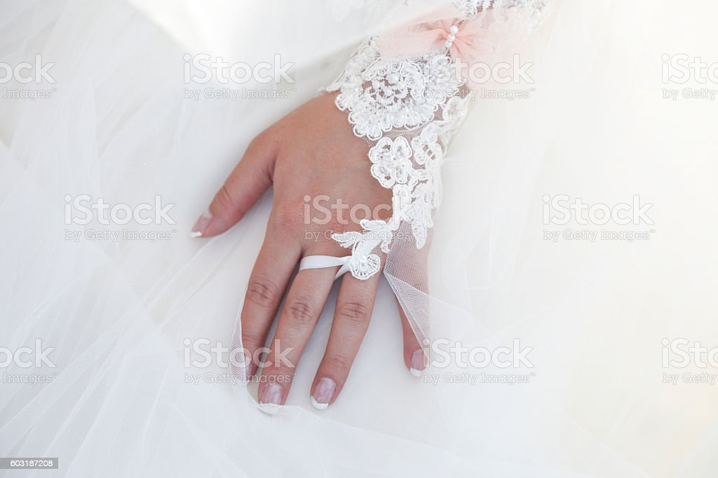 Lace White Wedding Dress With Long Sleeves Stock Photo Download