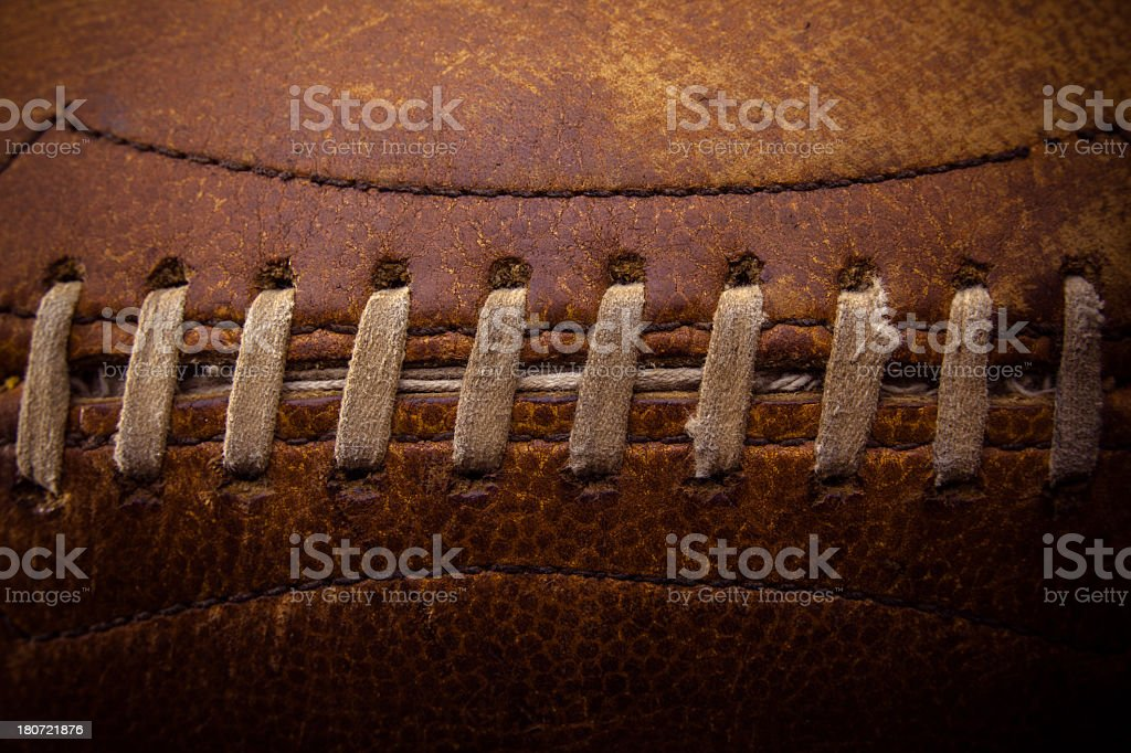 Laces on American Football stock photo