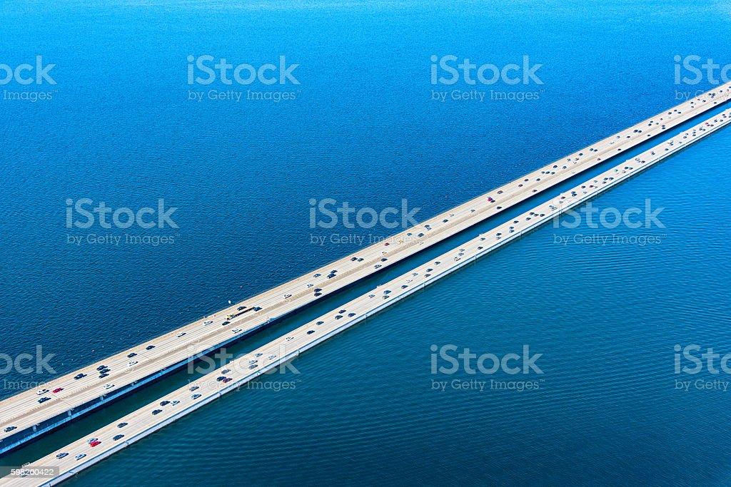 Lacey V Murrow Bridge Across Lake Washington in Seattle - Lizenzfrei Ansicht von oben Stock-Foto