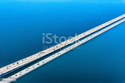 The Lacey V. Murrow Bridge of Interstate 90 as it spans Lake Washington just east of Seattle.