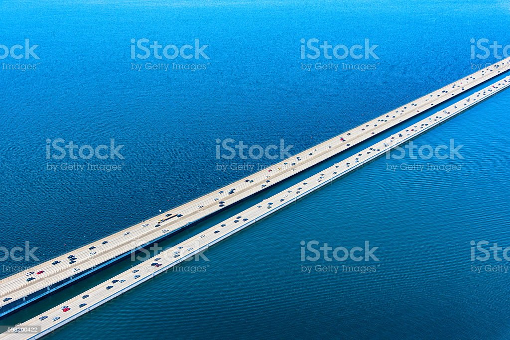 Lacey V Murrow Bridge Across Lake Washington in Seattle stock photo
