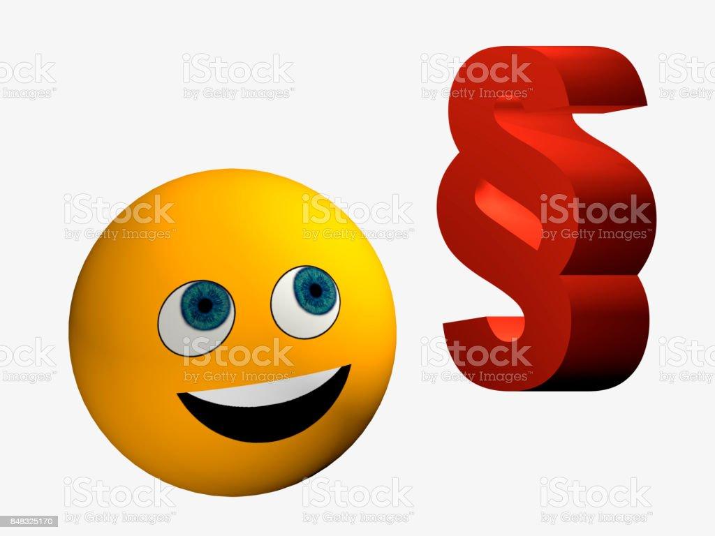 Lachender Smiley Schaut Zu Einem Paragraphenzeichen Stockfoto Und