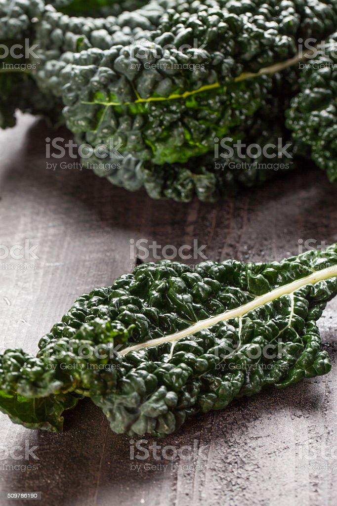 Lacinato kale on dark wood background stock photo