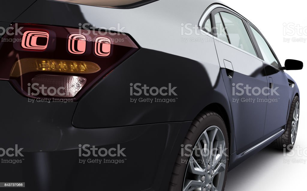 lack car studio view 3d render on white background stock photo