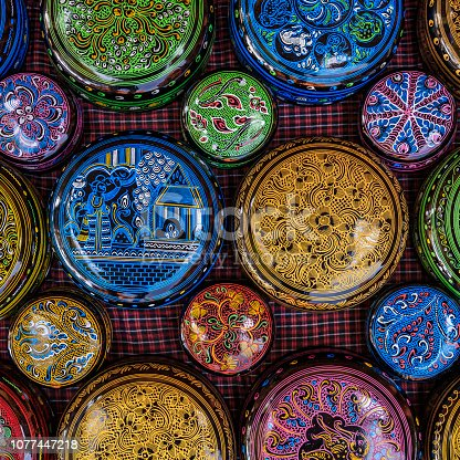 Souvenirs for tourists - lacquerware for sale in the ancient temple of Bagan, Myanmar (Burma).