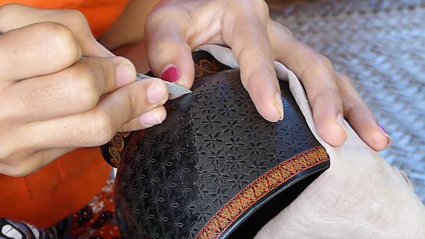 Lacquerware Production Myanmar stock photo