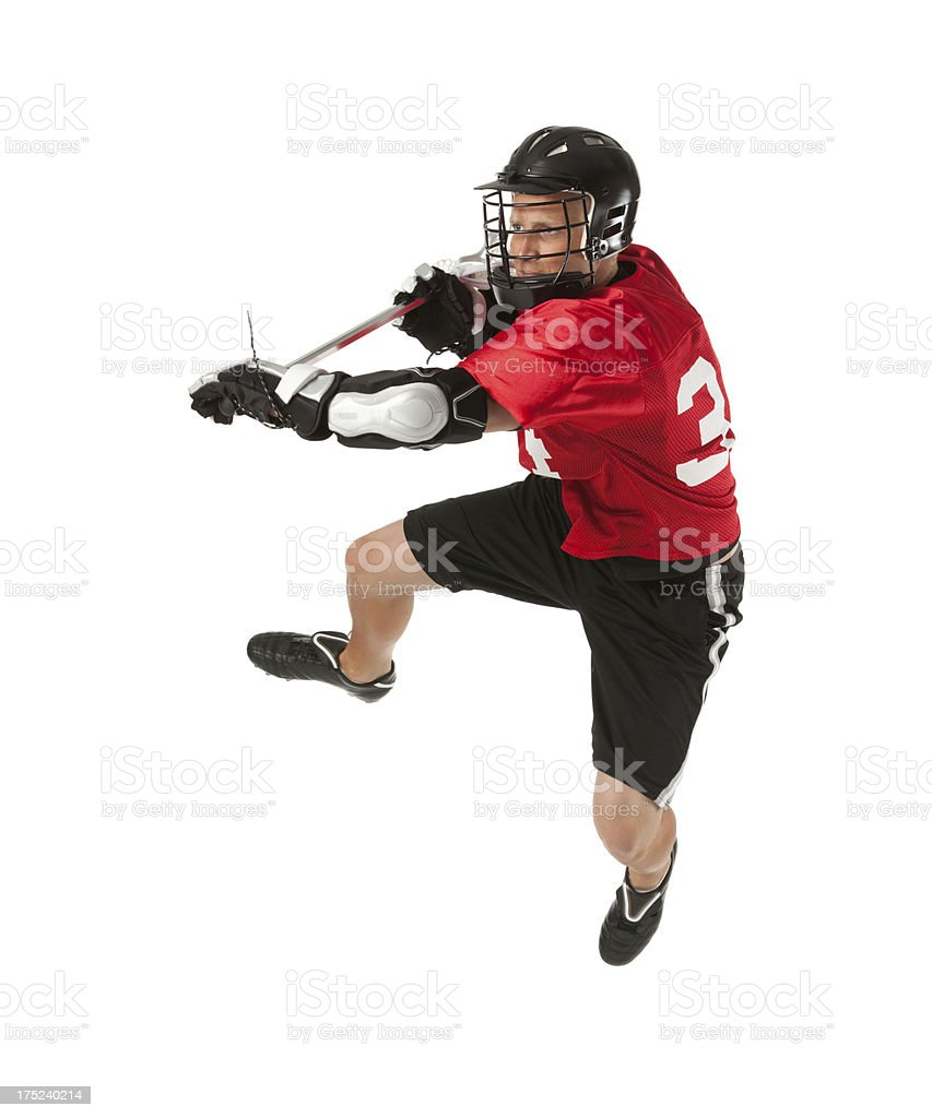 Lacrosse player in action royalty-free stock photo