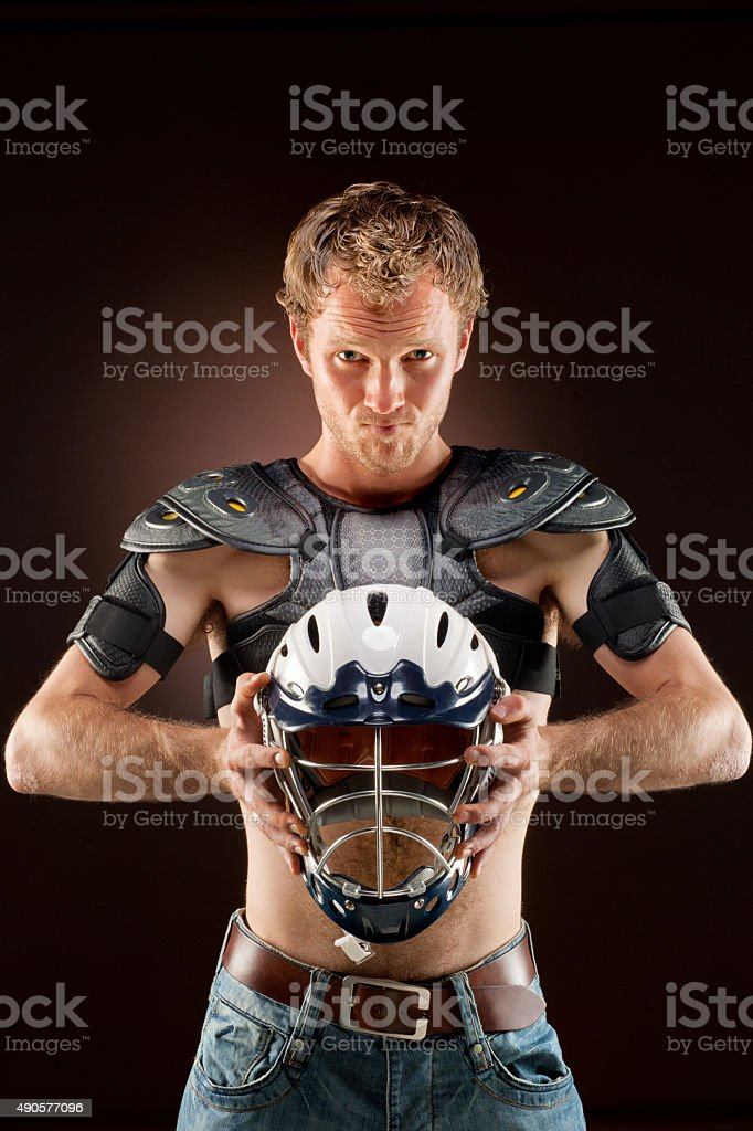 Lacrosse player, in official sports wear stock photo