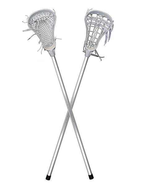 lacrosse skrzyżowane (na białym tle - kij do gry w lacrosse zdjęcia i obrazy z banku zdjęć