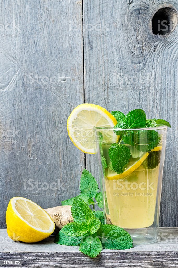 Lacto-fermented Soft Drink with Lemon and Ginger stock photo