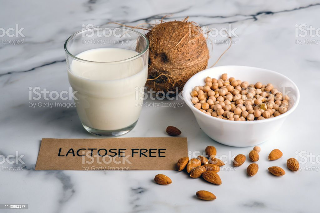 Lactose Free Milk Concept Homemade Milk Of Nuts And Piece Of