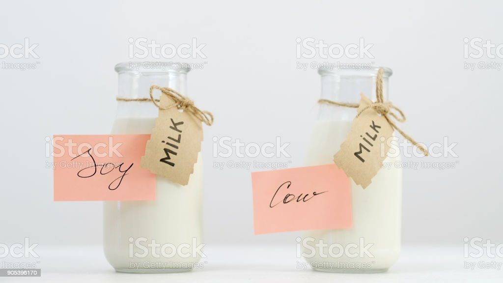 lactose intolerance soy cow milk alternative stock photo